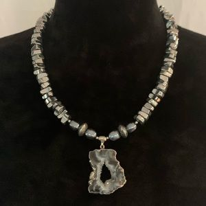 Jewelry - Silver plated Geode Pendant and Hematite Necklace